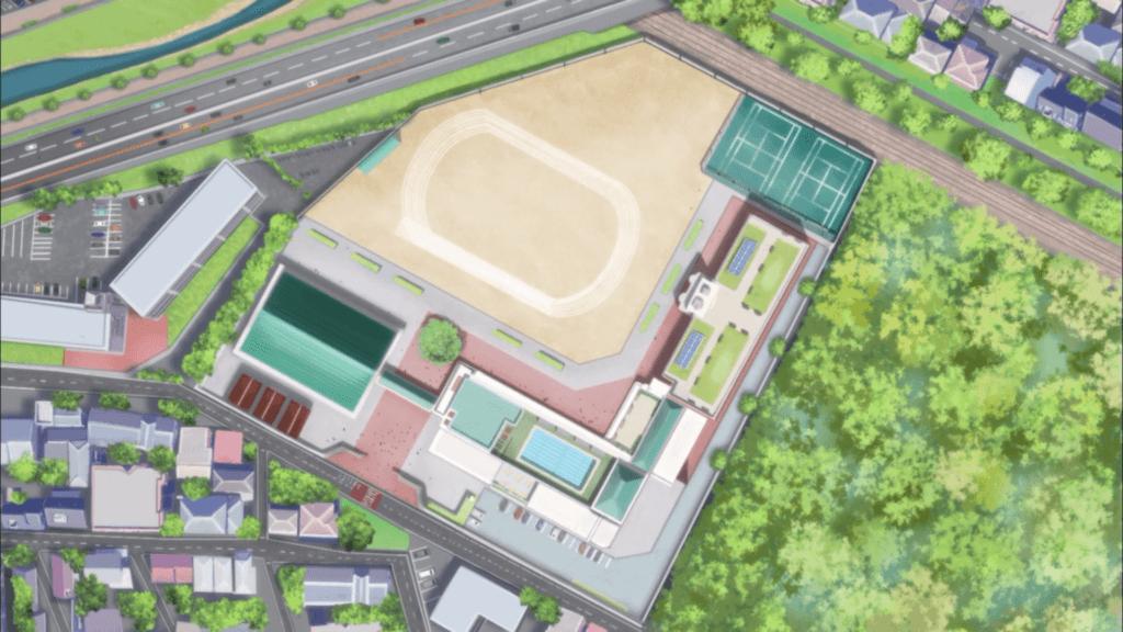 Joshikousei no Mudazukai 01 school birds eye view